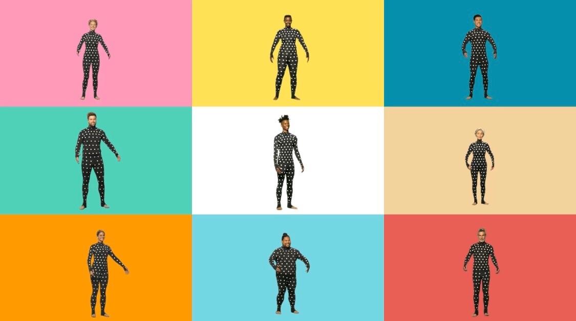 ZOZOSUITを使えばどんな体型の人でも採寸できるぞと言っているような様子の画像。