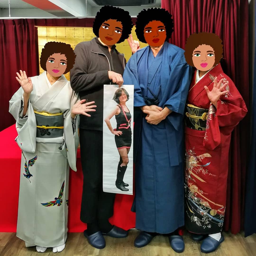 田辺一邑先生、ゼブラさんペコさんとともに。あとバンマスも