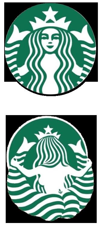 スターバックスのロゴ、後ろから