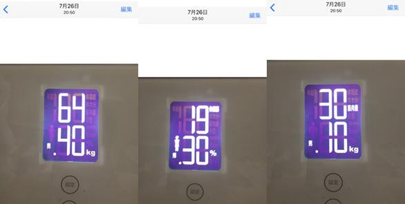 体重・体脂肪率・筋肉量のbefore画像