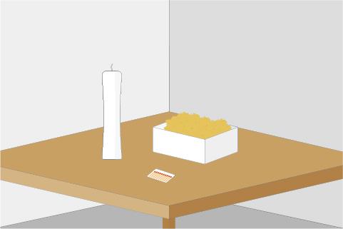 机の上にロウソク、ケースに入った画鋲、マッチ棒が置いてあるイラスト