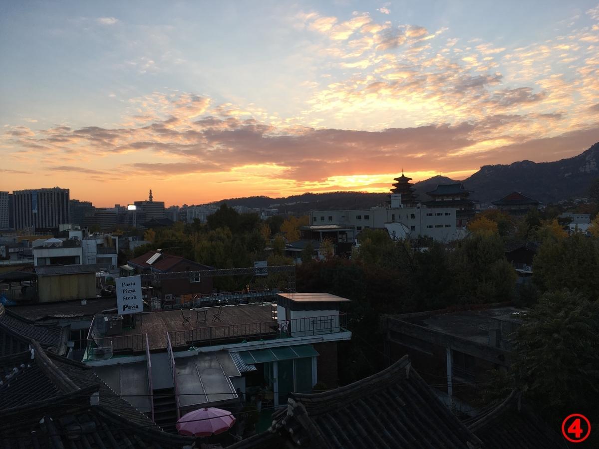 三清洞韓屋風景夕焼け