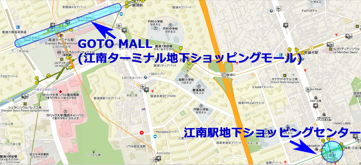 GOTO MALLと江南駅地下ショッピングセンターの地図
