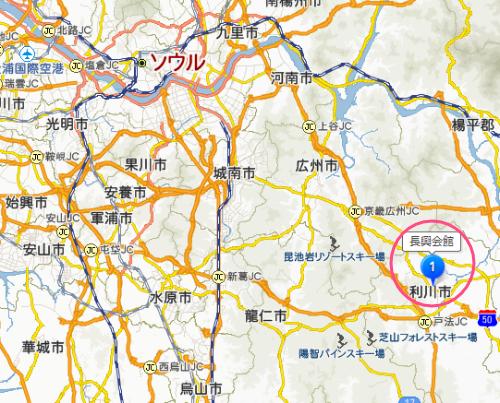 韓国「百年の店」長興会館 in京畿道利川市の地図