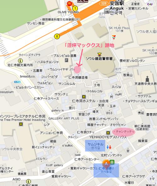 韓国ソウル仁寺洞通りの地図