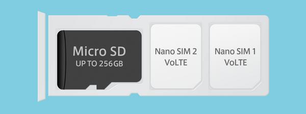 便利なDSDV仕様のトリプルスロット搭載 DSDV(Dual SIM / Dual VoLTE)仕様のトリプルスロットを搭載しました。nano SIM 2枚とmicro SD(microSDXC 最大256GB)を同時に使えます。2枚のSIMカードを挿して2つの電話番号を1台のスマートフォンで利用できるので、仕事用とプライベートの電話番号を1台で使い分けたり、データ通信用SIMカードと、音声通話用SIMカードと使い分けをしたい方にお勧めです。