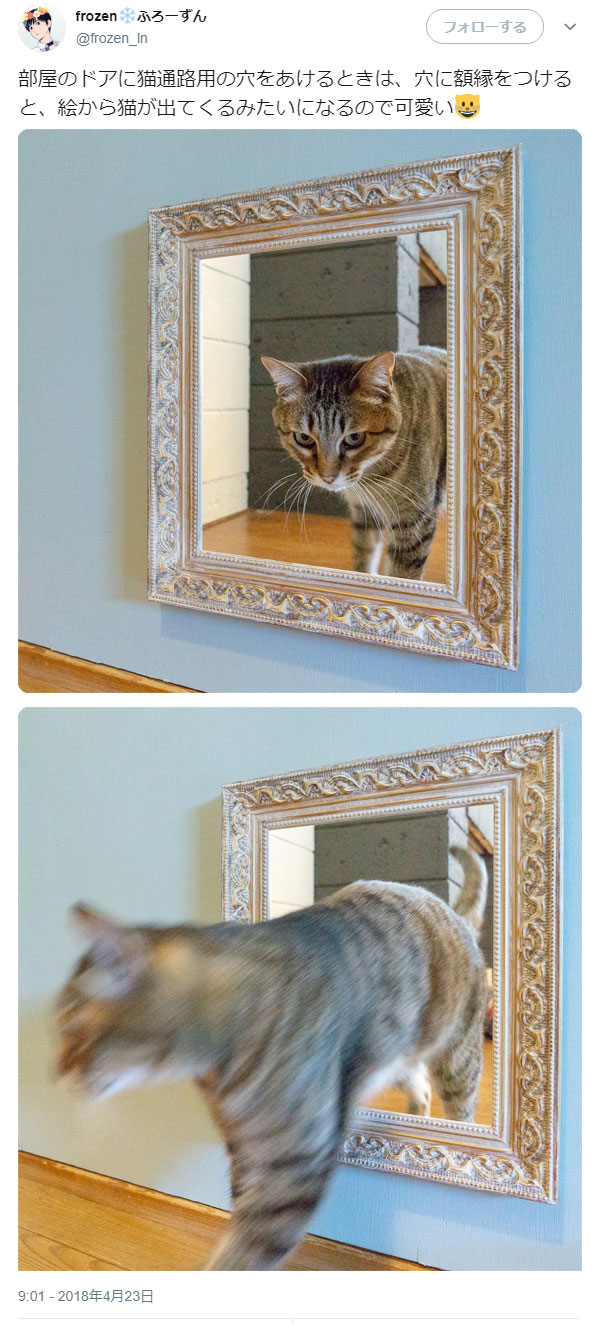 部屋のドアに猫通路用の穴をあけるとき