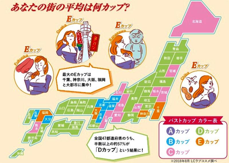 都道府県別バストサイズ2018年8月時点