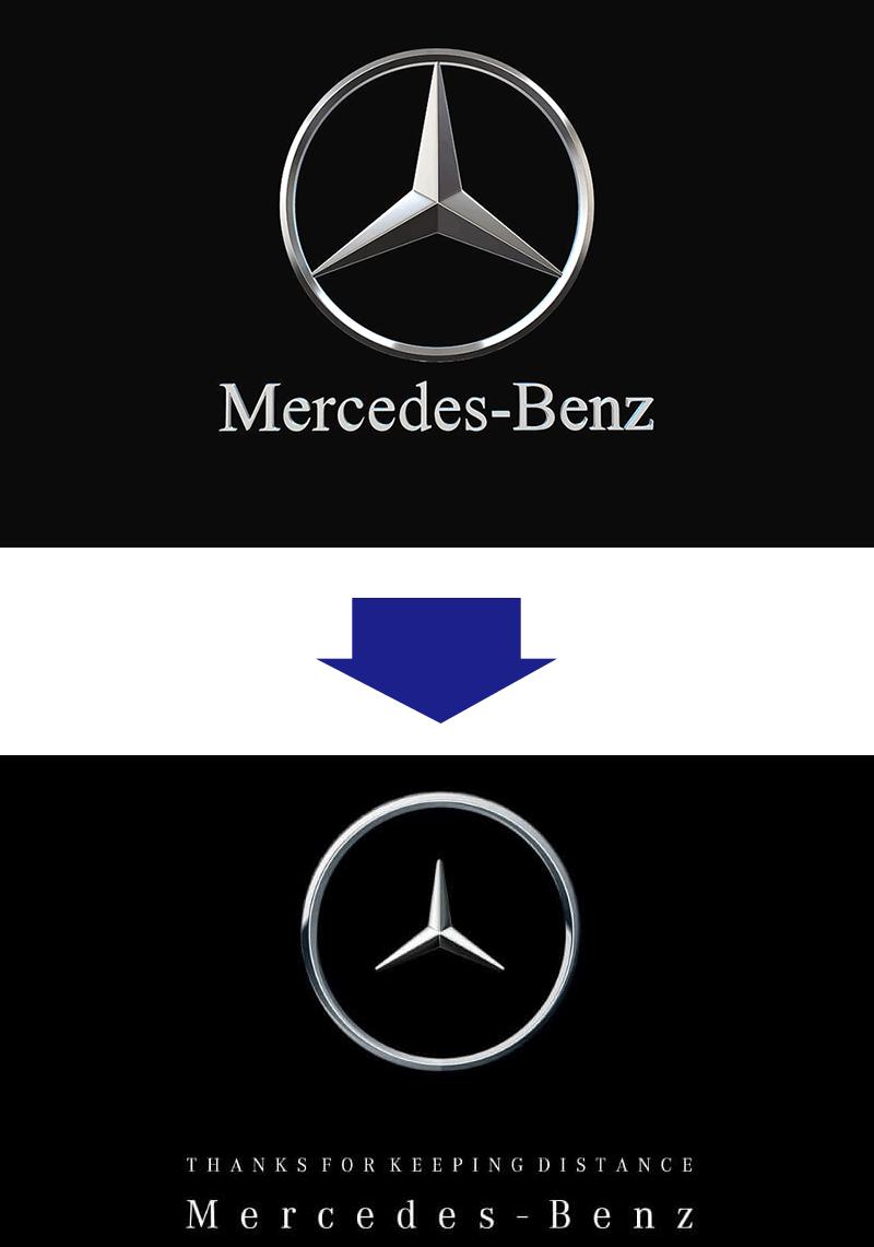 メルセデス・ベンツのソーシャルディスタンス・ロゴ