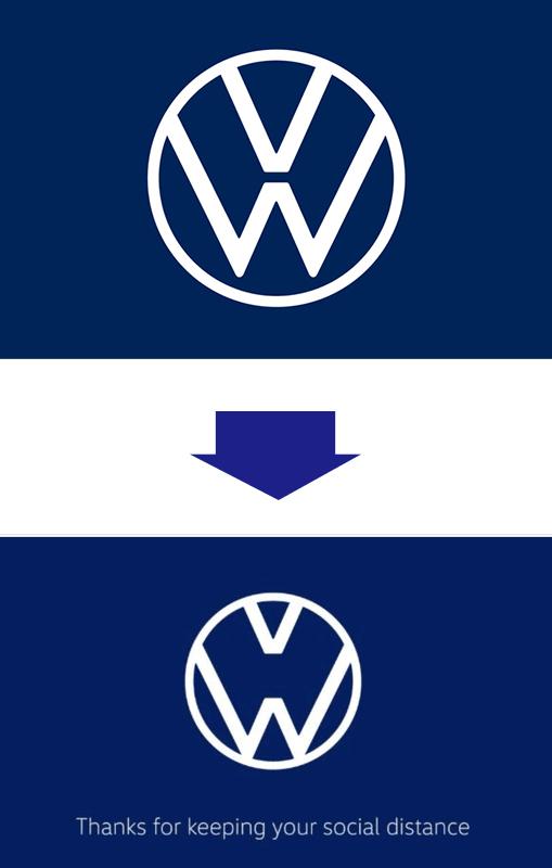 フォルクスワーゲンのソーシャルディスタンス・ロゴ