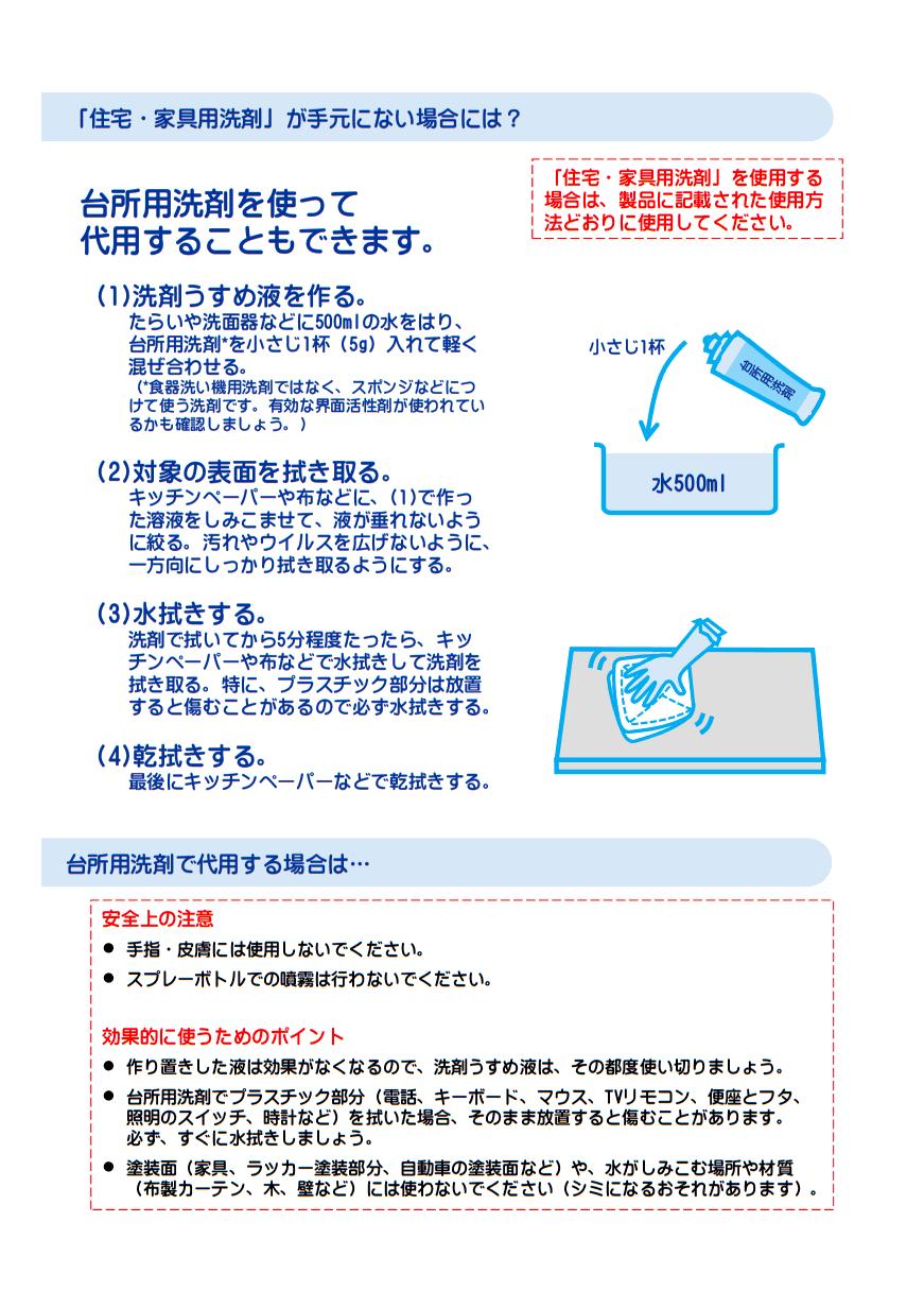 有効な界面活性剤が含まれる台所用洗剤での消毒