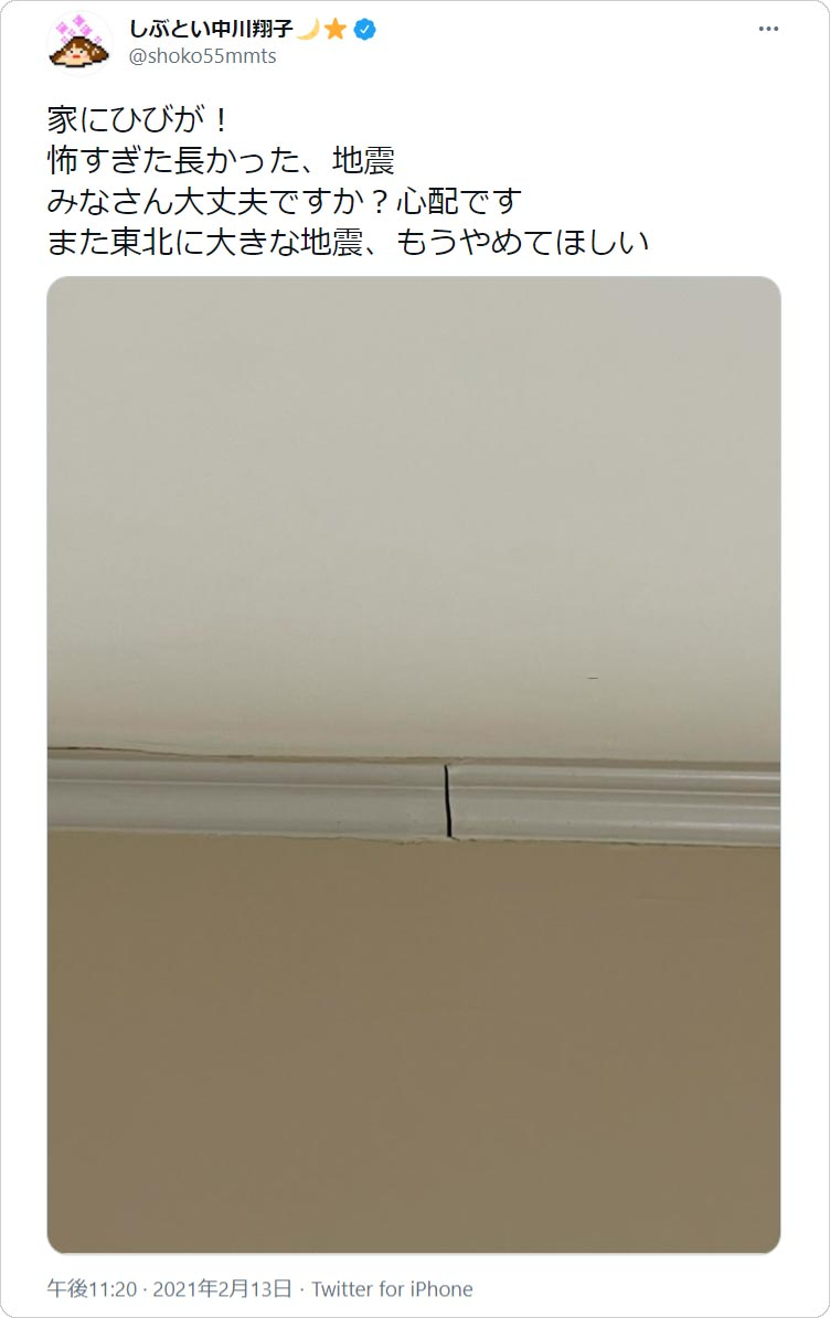 中川翔子さん「家にひびが!」
