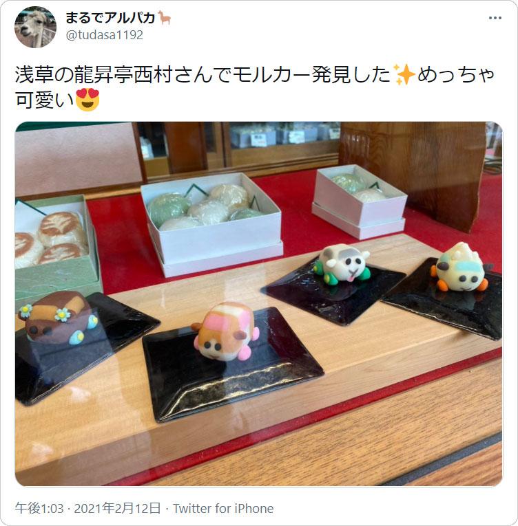 まるでアルパカさんのツイート「浅草の龍昇亭西村さんでモルカー発見した...」