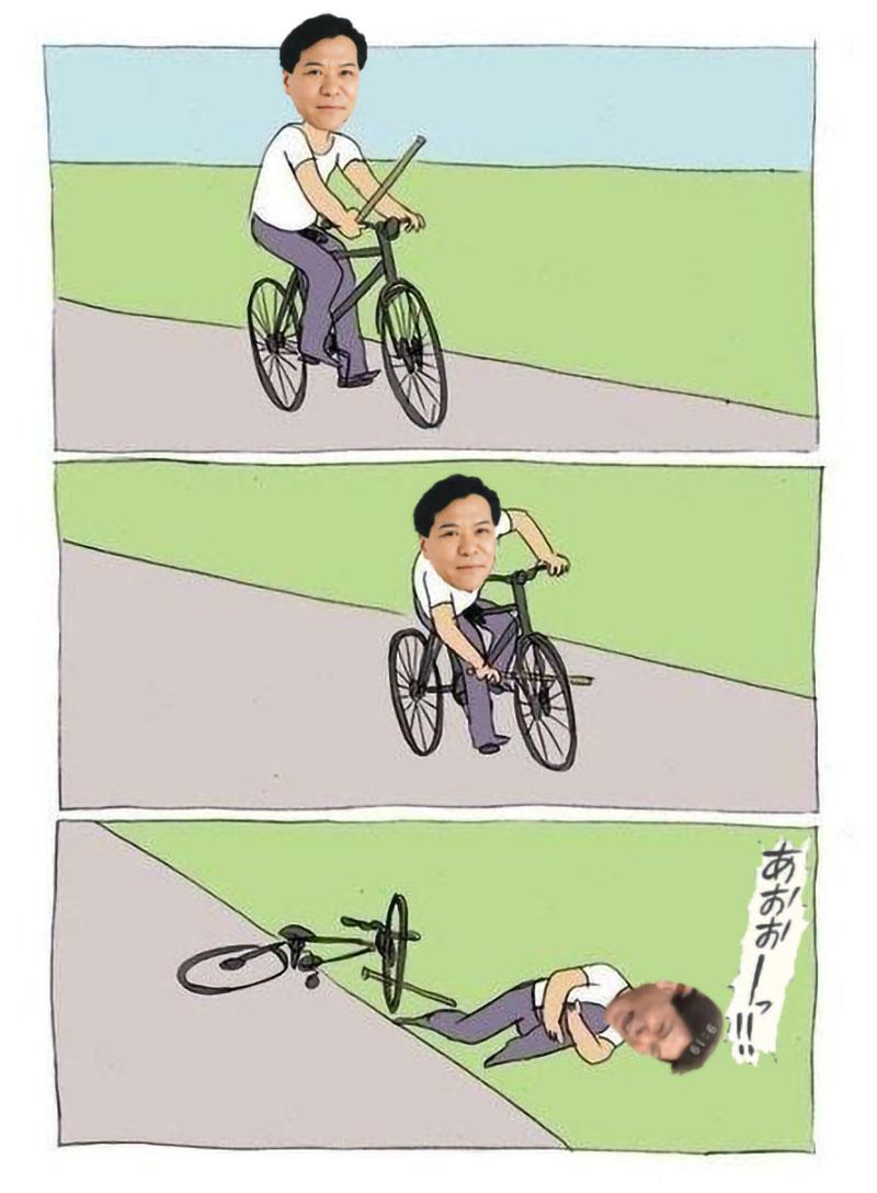 自転車乗ってるときにタイヤに棒を入れて転んだおすぎ
