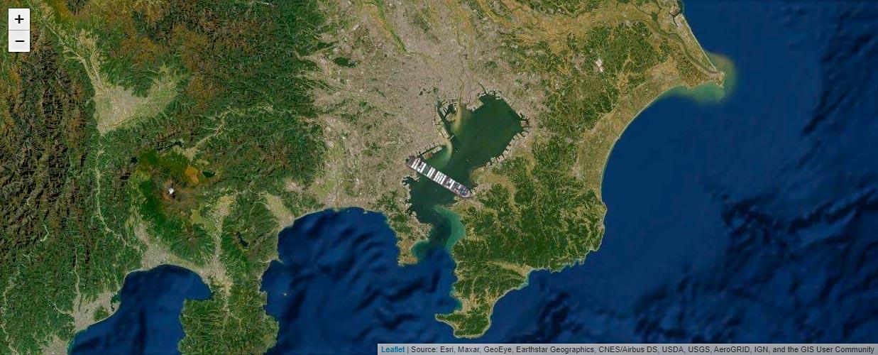 東京湾にエバーギブン