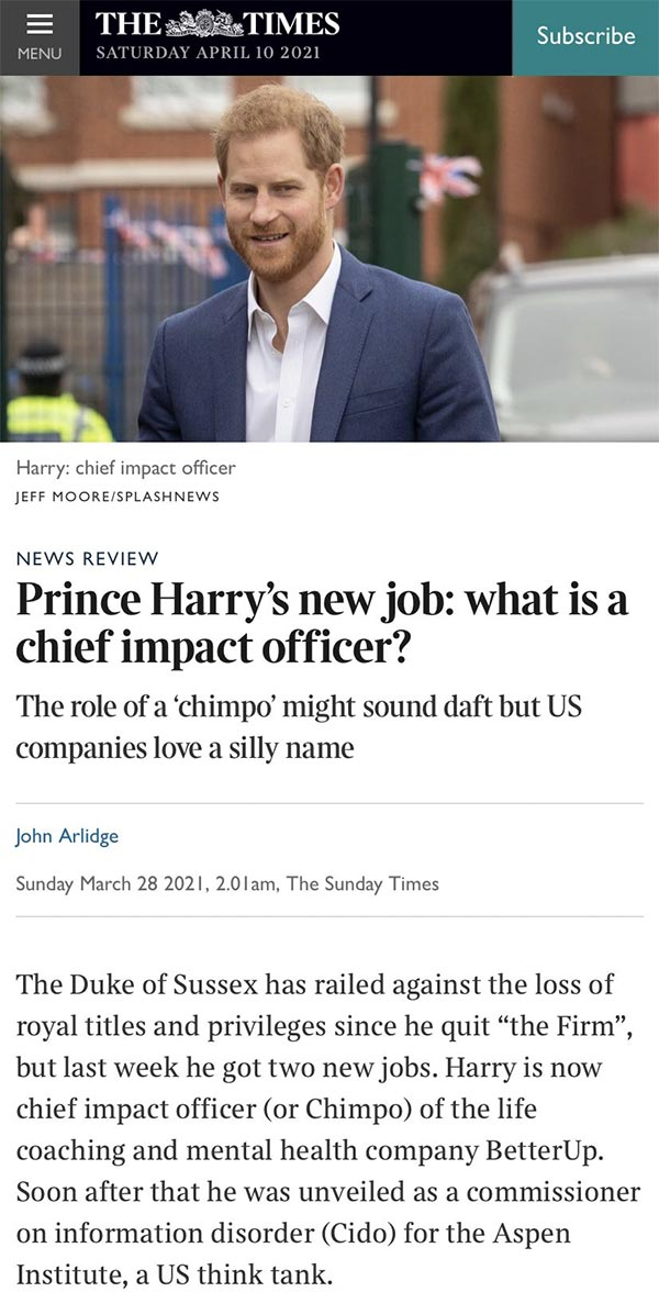 Prince Harry new job what is a chief impact officer?