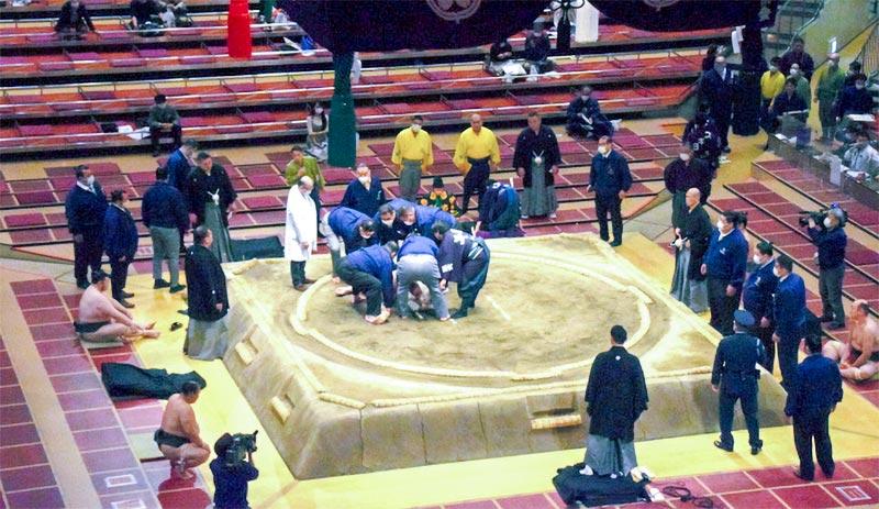大相撲春場所で負傷した三段目力士・響龍