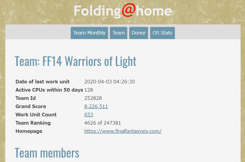 Folding@home Team: FF14 Warriors of Light
