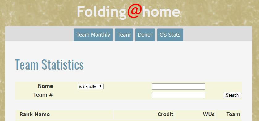 Folding@home 参加したいTeamを探す