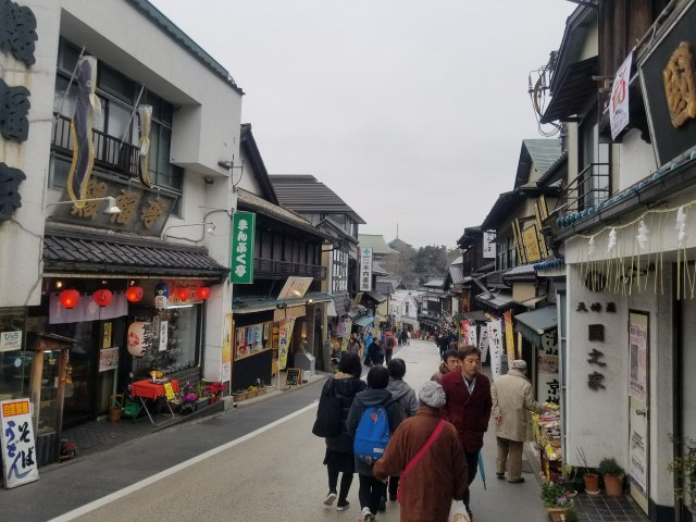 駅から徒歩で成田山新勝寺に向かう道中には、150店以上の土産店、飲食店が軒を連ねています