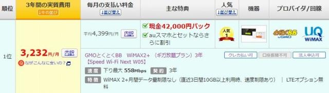 最安なのは、価格.comのGMOとくとくBB WiMAX2+ (ギガ放題プラン)3年【Speed Wi-Fi Next W05】
