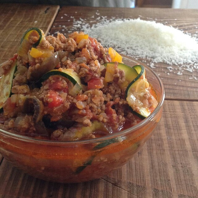 夏野菜のミートソースで焼きっぱなしミートドリア弁当2