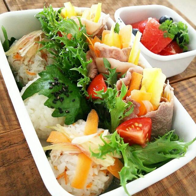 薬味たっぷりまん丸混ぜ寿司と冷しゃぶ野菜まき弁当