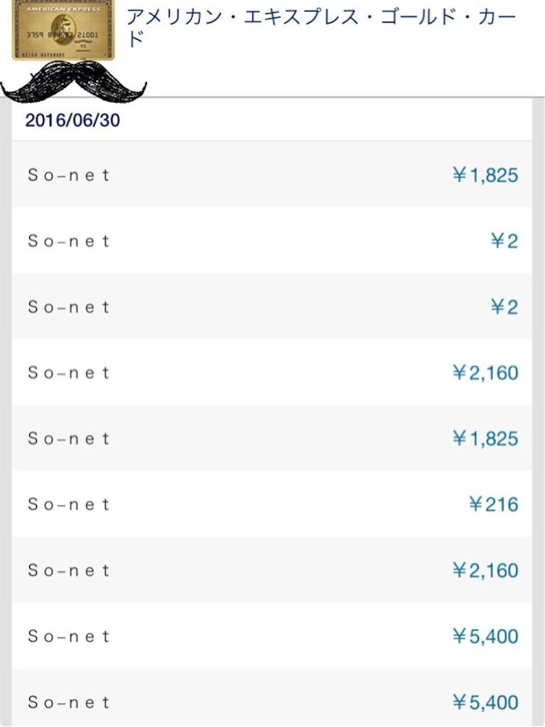 アメックス祭り So-net SIMで一撃2万ポイントゲット明細