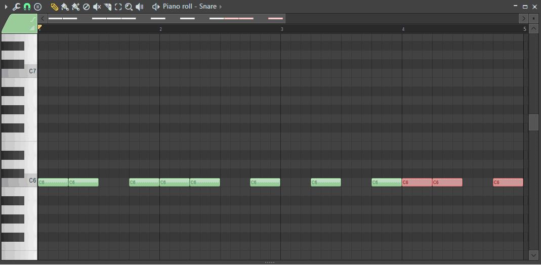 ピアノロールにリズムを打ち込んだ画面