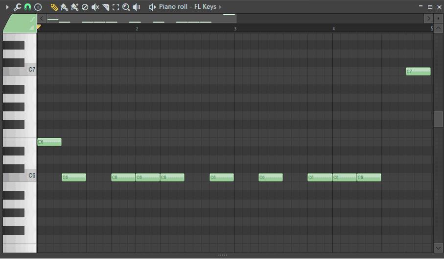 ピアノロールに最初の音と最後の音を追加した画面