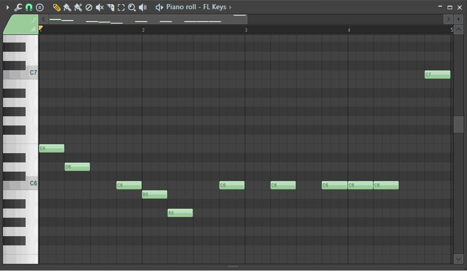 ピアノロールに歩いている音符を打ち込んだ画面