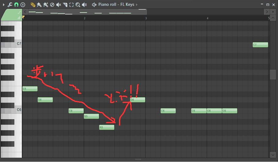 ピアノロールに歩いてから飛んだ音符を打ち込んだ画面