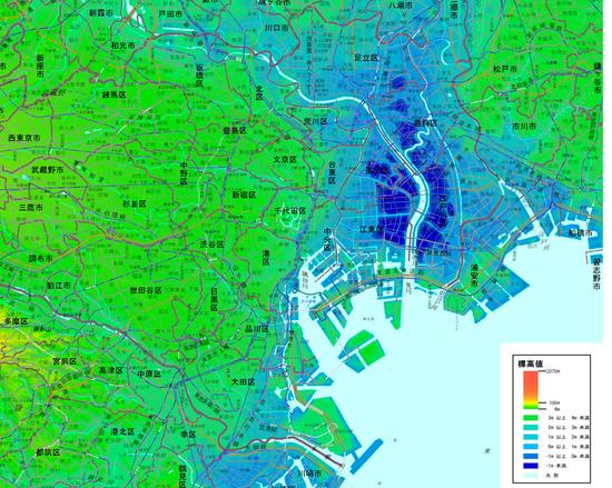 東京23区の海抜ゼロメートル