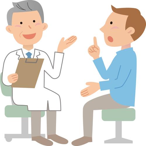 病院で診察を受ける人のイラスト