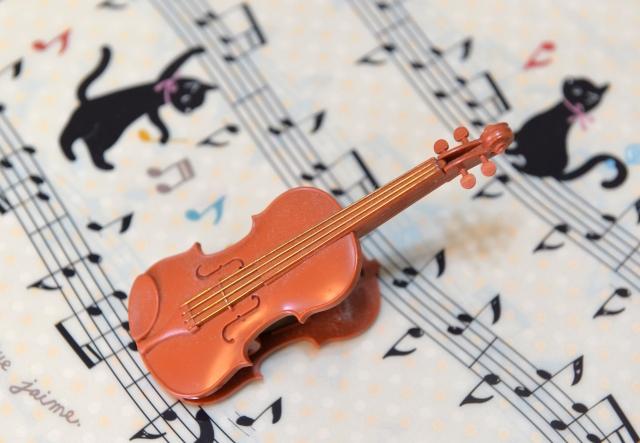 楽譜とバイオリンと黒猫