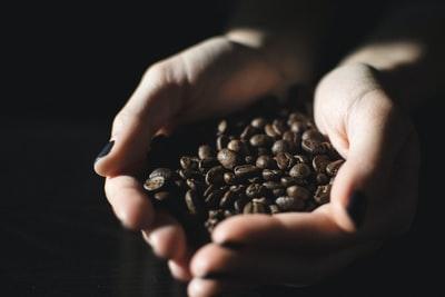 コーヒー豆を掬う手元のアップ