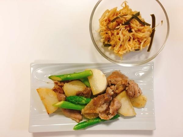 豚肉と長芋のバタポン炒め、切り干し大根のはりはり漬け