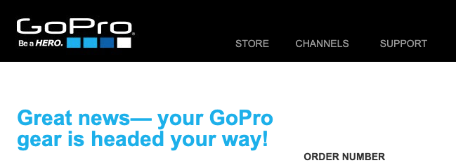 GoPro10公式サイトで購入した場合の発送案内メールの画面キャプチャー