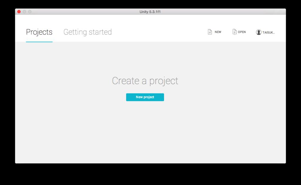新規プロジェクト作成画面