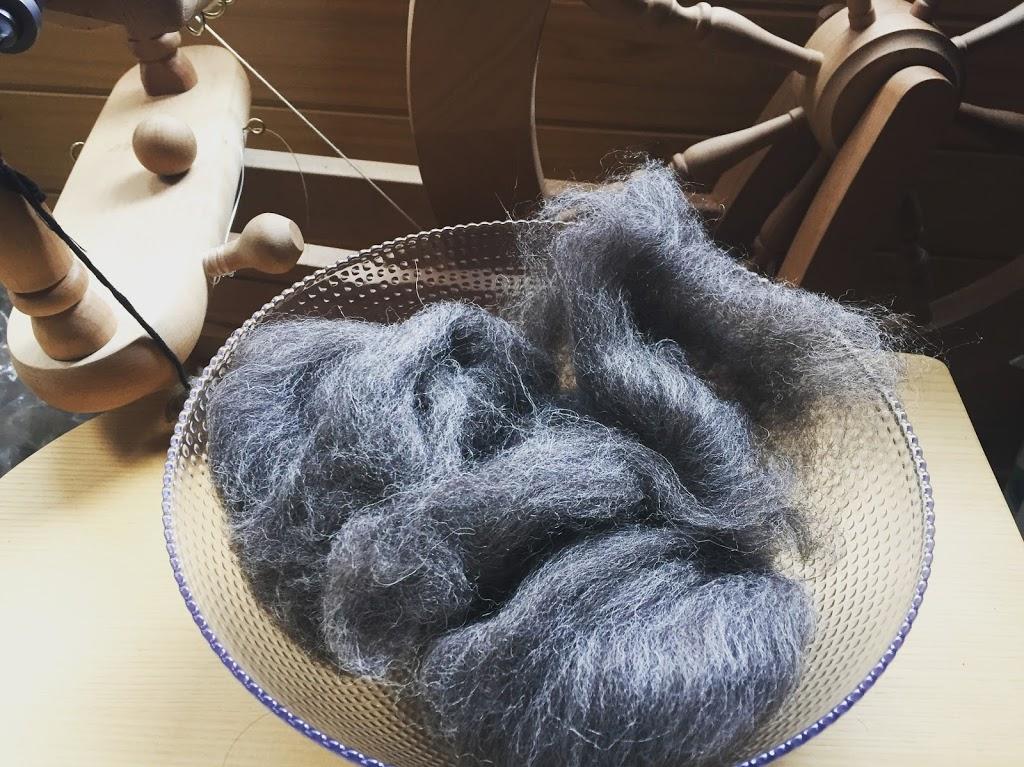 この羊毛を紡いでいます