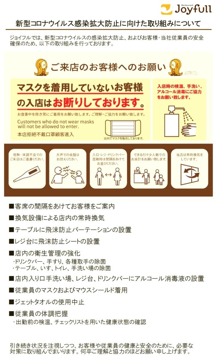 ジョイフル(Joyfull)の東京都、埼玉県、千葉県、宮城県、大阪府の全店舗および京都府、兵庫県の一部の店舗での新型コロナウイルス感染拡大防止に向けた取り組み