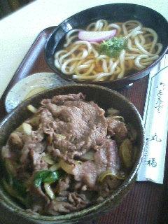 丸福の牛丼と小うどん ○