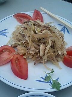 前菜(肉や湯葉を細く切ったやつ)@四条大橋 東華菜館 ○