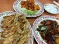 酢豚、エビチリ、餃子@王将