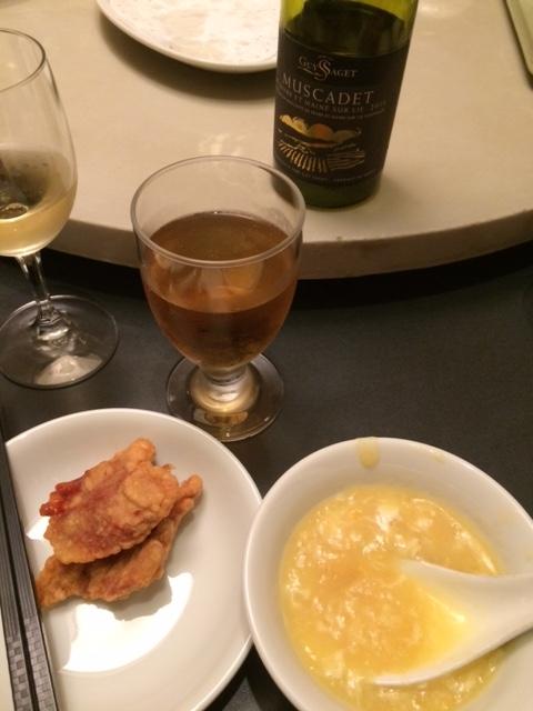 コーンスープとワインと豚の天ぷら@浜大津 あたか飯店