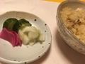 ノドグロの炊き込みご飯、お漬物@ 三井寺 肴や ま喜の