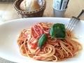 トマトとモッツァレラチーズのトマトソースパスタ@アフタヌーンティ
