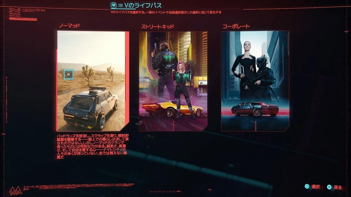 cyberpunk2077 スタート
