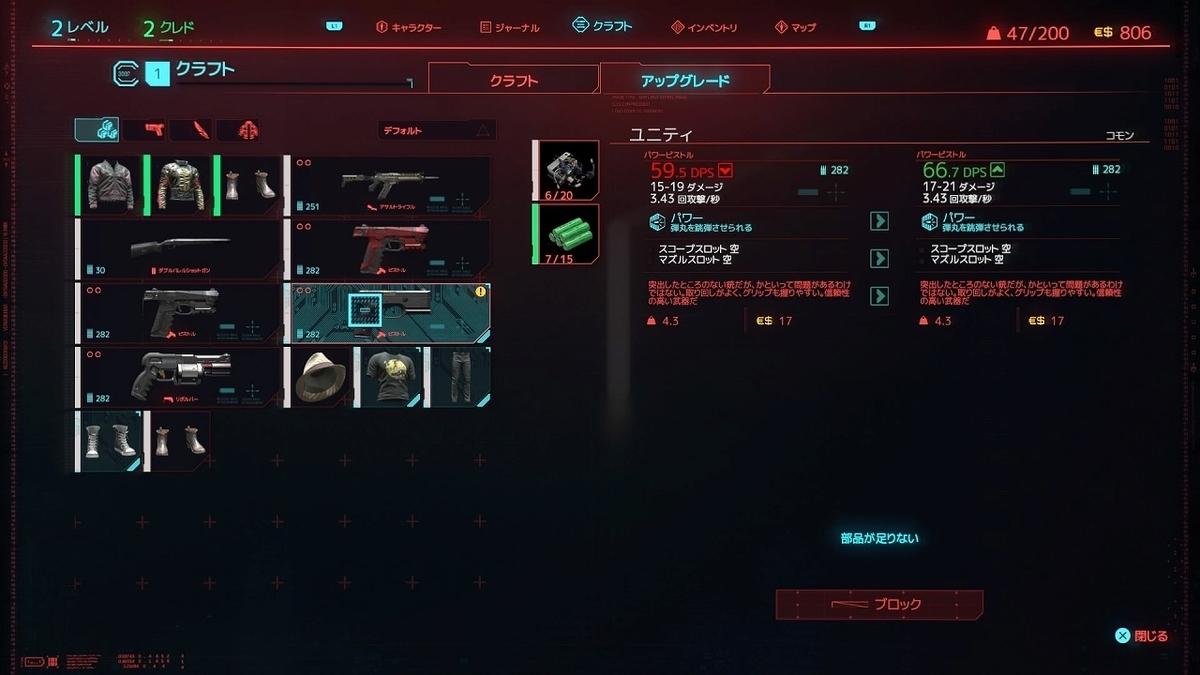 cyberpunk2077 アイテムアップグレード