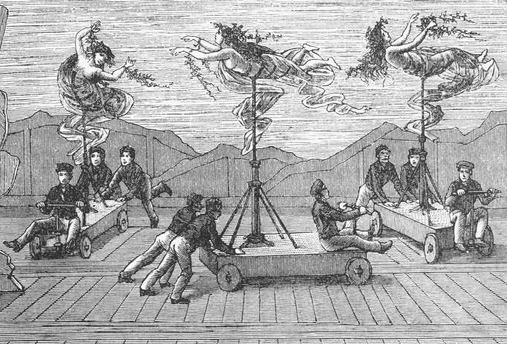 初期の舞台装置、こうして乙女らが水中にあるかのように